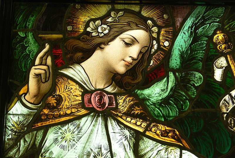 File:LA Cathedral Mausoleum Annunciation detail 1.jpg