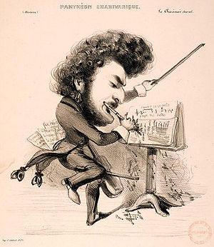 Louis-Antoine Jullien - Caricature of Jullien by Benjamin Roubaud.