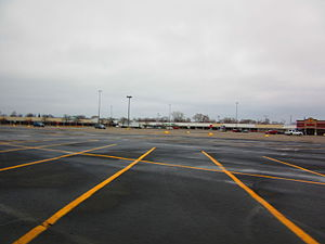 Lincoln Park Shopping Center - Vacant stores overlooking empty parking lots at the Lincoln Park Shopping Center, December 2014