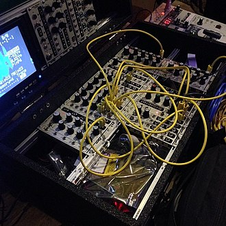 Video synthesizer - LZX modular video synthesizer in work.
