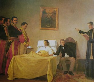 Simón Bolívar - Bolívar's death, by Venezuelan painter Antonio Herrera Toro