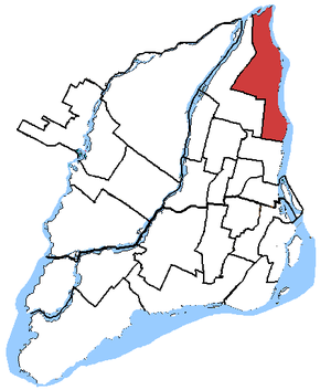 La Pointe-de-l'Île - La Pointe-de-l'Île in relation to other federal electoral districts in Montreal
