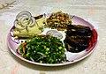 Lai shak, mashed potato & fried egg plant.jpg