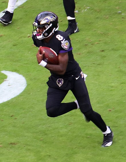 Lamar Jackson quickly emerged as an effective dual-threat quarterback when he began playing in the late 2010s. Lamar Jackson vs. Bengals 2018.jpg