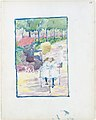 Large Boston Public Garden Sketchbook- A girl riding a tricycle in the park MET DT3416.jpg