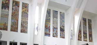 Tanjong Pagar railway station - Panels of paintings depicting economic activities of Malaysia and Singapore in the Station hall