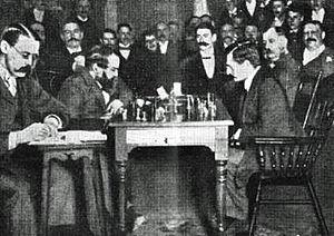 World Chess Championship 1894 - From the World Championship Match New York, 1894 Wilhelm Steinitz (left) - Emanuel Lasker (right)