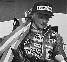 Lauda celebrating at 1977 Dutch Grand Prix crop.jpg