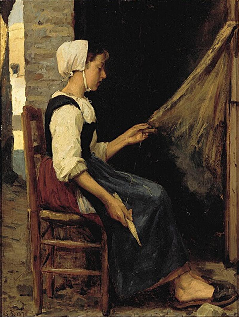 Laurits Tuxen - Fiskerpige sжtter garn - 1878.png