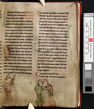 Cyfraith Hywel - A page from a 13th Century Latin version of the laws of Hywel Dda. NLW, Pen.28