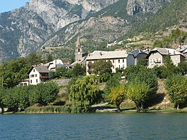 Buildings of Le Lauzet-Ubaye and the lake