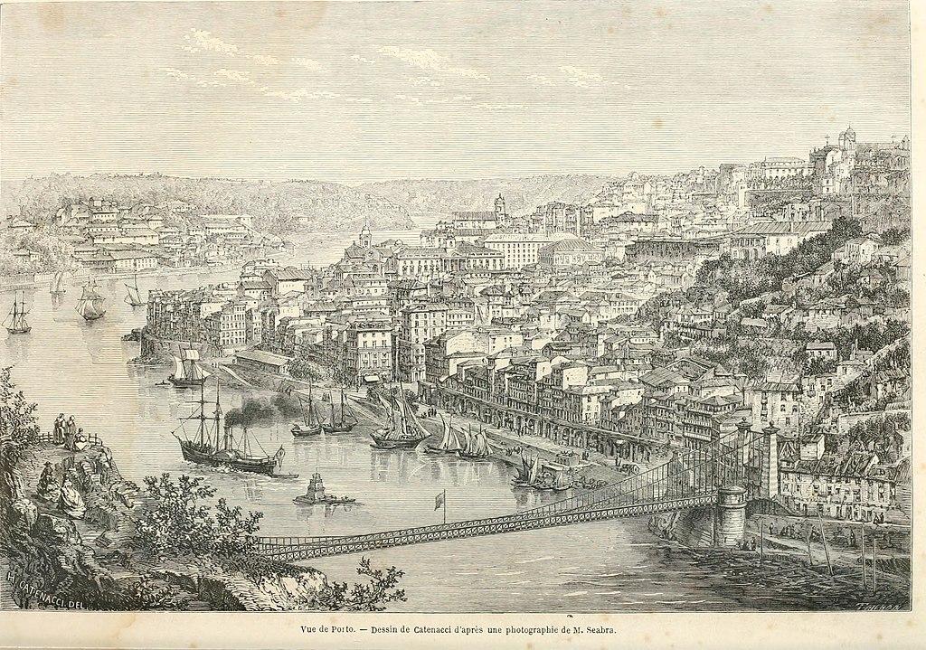 Vue sur Porto en 1860 - Image d'Edouard Charton