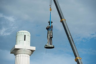 Lee Circle - The Confederate Monument to Robert E. Lee is removed from its perch.