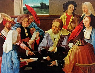 Primo visto - The Card Players, by Lucas van Leyden, suggests that the game depicted is actually the game of Primero or one of its many variants.