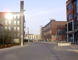 A view of Liberty Village, looking west from Hanna Avenue, down Snooker Street towards Atlantic Avenue.
