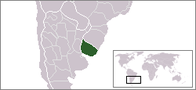 A map showing the location of Uruguay