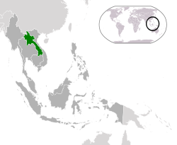 Location of  Laos  (green)in ASEAN  (dark grey)  —  [Legend]