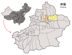 Location of Hutubi County (pink) in Changji Prefecture (yellow) and Xinjiang (grey)
