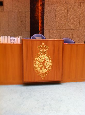 Speaker of the House of Representatives (Netherlands) - The Speaker's chair is higher than the other seats.