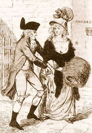 London Monster - 1 May 1790, artist's depiction of the London Monster attacking a woman. The likeness was created from various reports from alleged victims and before the arrest of Rhynwick Williams.