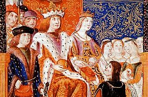 Catholic Monarchs - Ferdinand and Isabella with their subjects