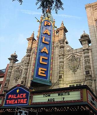 "Performing arts in Louisville, Kentucky - Front view of The Louisville Palace with marquee reading ""Tom Waits August 7"""