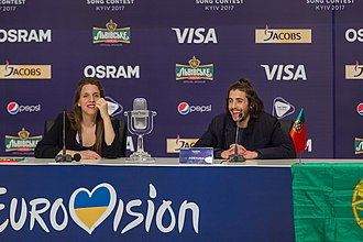 Portugal in the Eurovision Song Contest 2017 - Luísa and Salvador Sobral at the Eurovision Song Contest 2017 winner's press conferece