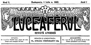 Luceafărul (magazine) - Cover of the first edition