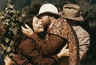 Karen Kondazian - Luciano Pavarotti embraces Karen Kondazian on the set of Yes, Giorgio