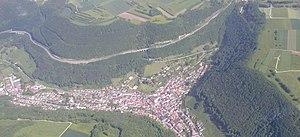 Drackensteiner Hang - Aerial view of one half of the autobahn, above Wiesensteig