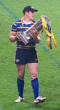Luke Burgess with the Super League trophy in 2009