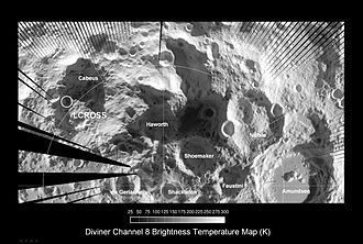 Cabeus (crater) - Cabeus Crater (left) as imaged by the Diviner instrument on the Lunar Reconnaissance Orbiter.