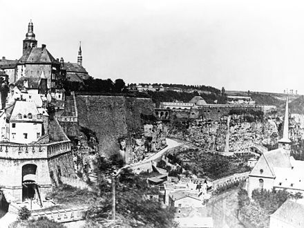 Photograph of the fortress of Luxembourg prior to demolition in 1867 Luxembourg fortress before demolition.jpg