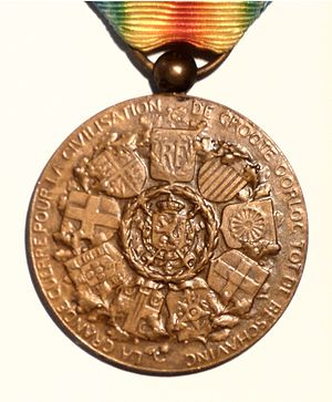 Inter-Allied Victory Medal (Belgium) - Reverse of the Belgian Inter-Allied Victory Medal