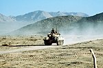 M551 visually modified to resemble BMP-1 moving along road during exercise at the National Training Center 1988 DA-ST-88-04838.jpg