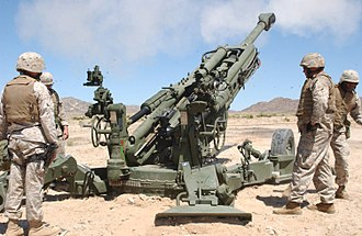 M777 howitzer - US Marine gunners test fire an M777 howitzer.