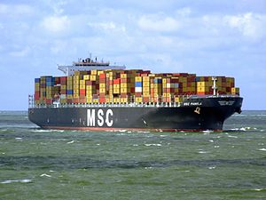 MSC Pamela p13 approaching Port of Rotterdam, Holland 29-Jul-2007.jpg