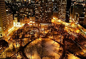Madison Square and Madison Square Park - Snow-covered Madison Square Park at night, looking south (Dec. 2005)