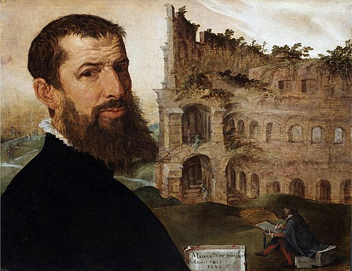 Maerten van Heemskerck - Self-portrait, with the Colosseum (Fitzwilliam Museum)