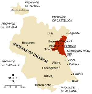 Province of Valencia - Map of the province of València and its main towns. The first crown of València metropolitan area is drawn in dark brown.