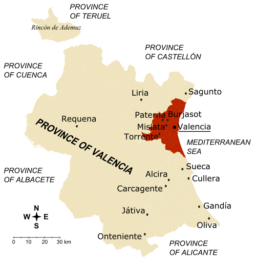 Main towns in the province of Valencia
