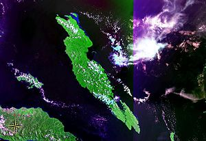 Malaita massacre - Malaita Island seen from space (false color)