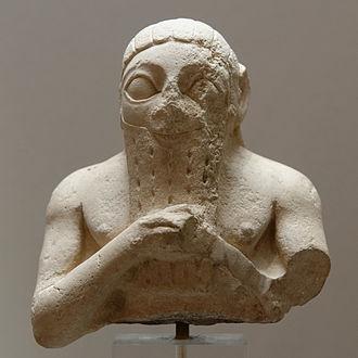 Adab (city) - Male bust, perhaps Lugal-kisal-si, king of Uruk. Limestone, Early Dynastic III. From Adab (Bismaya).