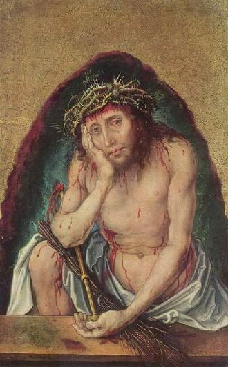 Self-Portrait (Dürer, Munich) - Christ as Man of Sorrows, undated, likely 1493–1494, Staatliche Kunsthalle, Karlsruhe. This work is often compared to the 1500 self-portrait for its similar facial features and the direct way the subject stares out at the viewer.