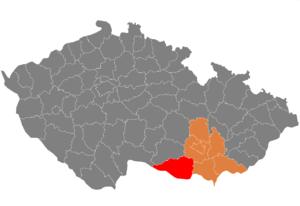 Vị trí huyện Znojmo trong vùng Nam Moravia trong Cộng hòa Séc