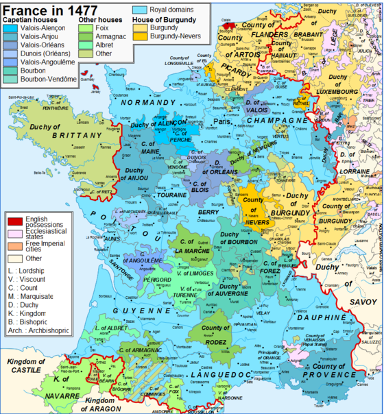 Map of France and the Pyrenees in 1477 showing the Kingdom of Navarre and the Principality of Bearn Map France 1477-en sovereign Bearn.png