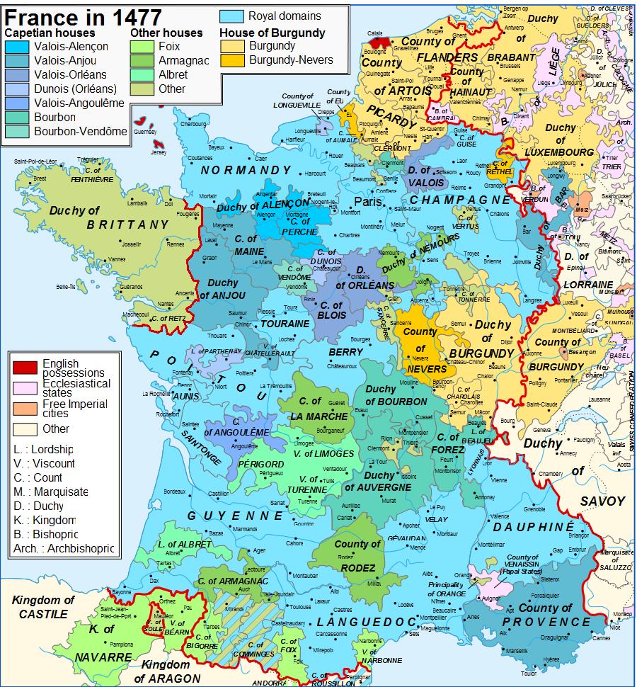 Map France 1477-en sovereign Béarn