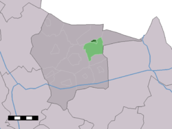 The village centre (dark green) and the statistical district (light green) of Vasse in the municipality of Tubbergen.