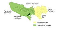 Location of Tama City in Tokyo
