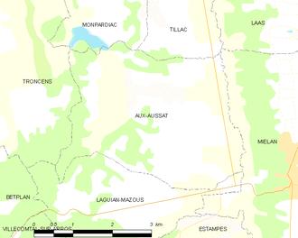 Aux-Aussat - Aux-Aussat and its surrounding communes